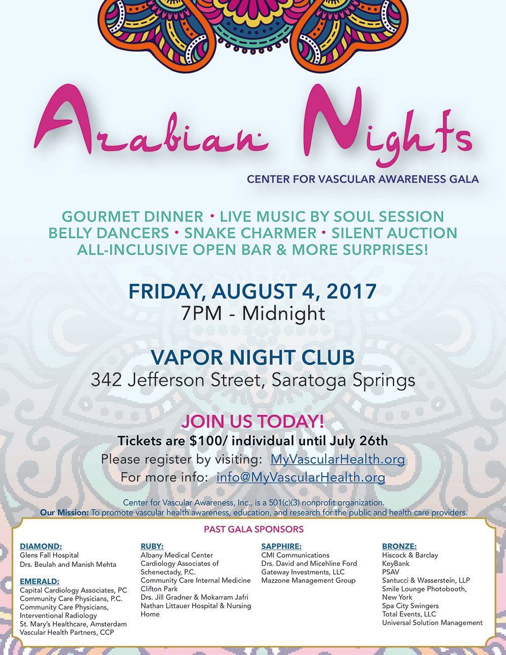 Center for Vascular Awareness Annual Gala- August 4, 2017