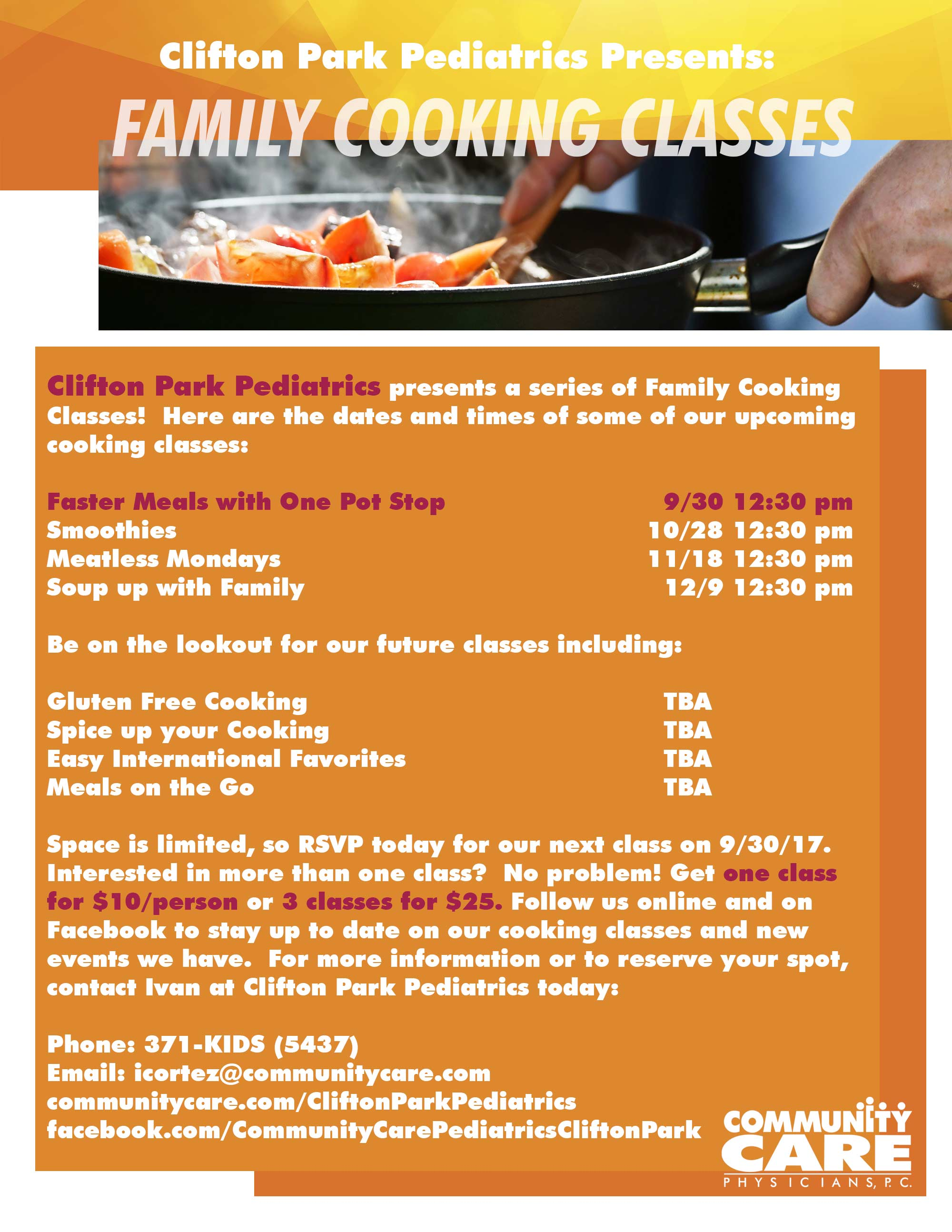 Clifton Park Pediatrics presents: Family Cooking Classes