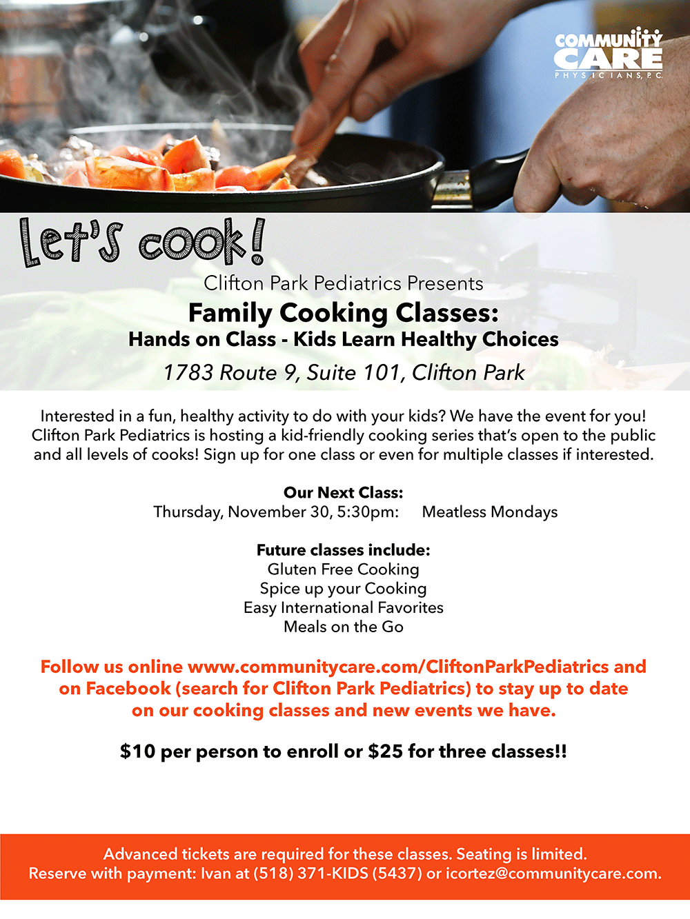 Clifton Park Pediatrics Presents - Family Cooking Classes: Meatless Mondays