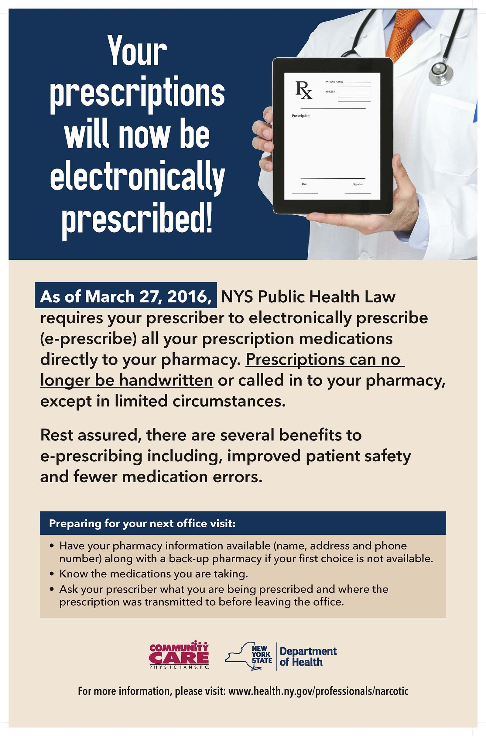 Electronic Prescriptions Now Manditory in New York.
